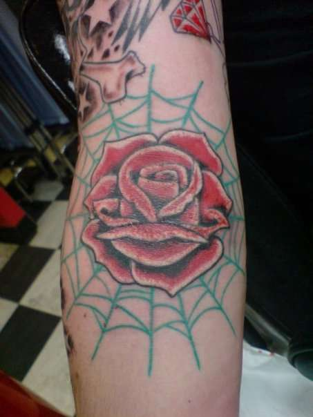 3D Red Rose And Spiderweb Tattoos On Arm