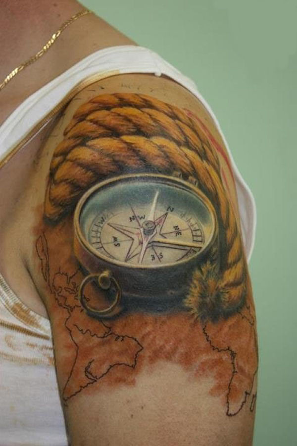 3D Rope And Compass Tattoos On Shoulder
