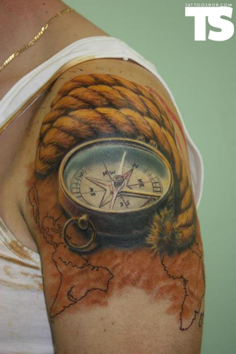 3D Rope Compass And Map Tattoos On Shoulder