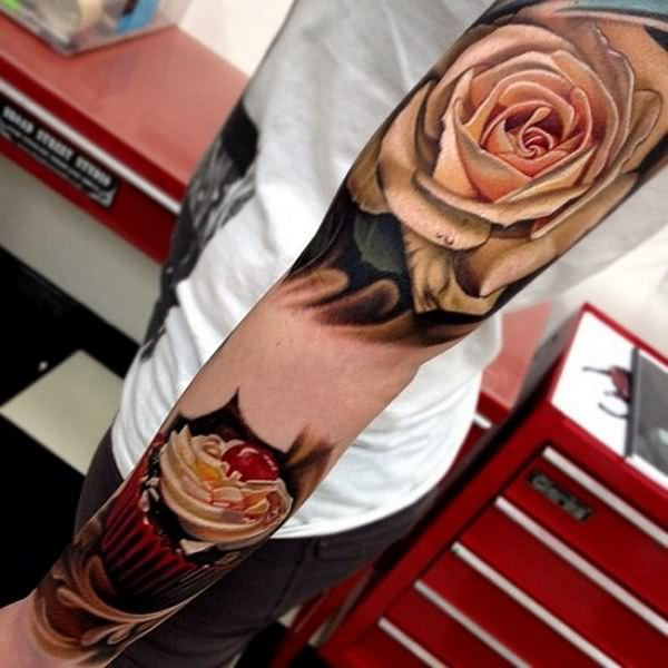 3D Rose And Cupcake Sleeve Tattoo Fashion