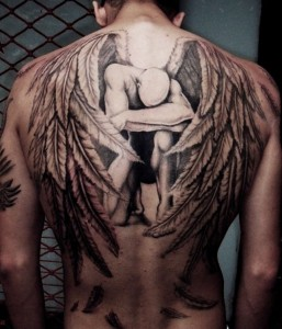 3D Sad Angel With Head On Knee Tattoo