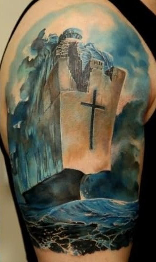 3D Sea Scene Tattoo On Half Sleeve