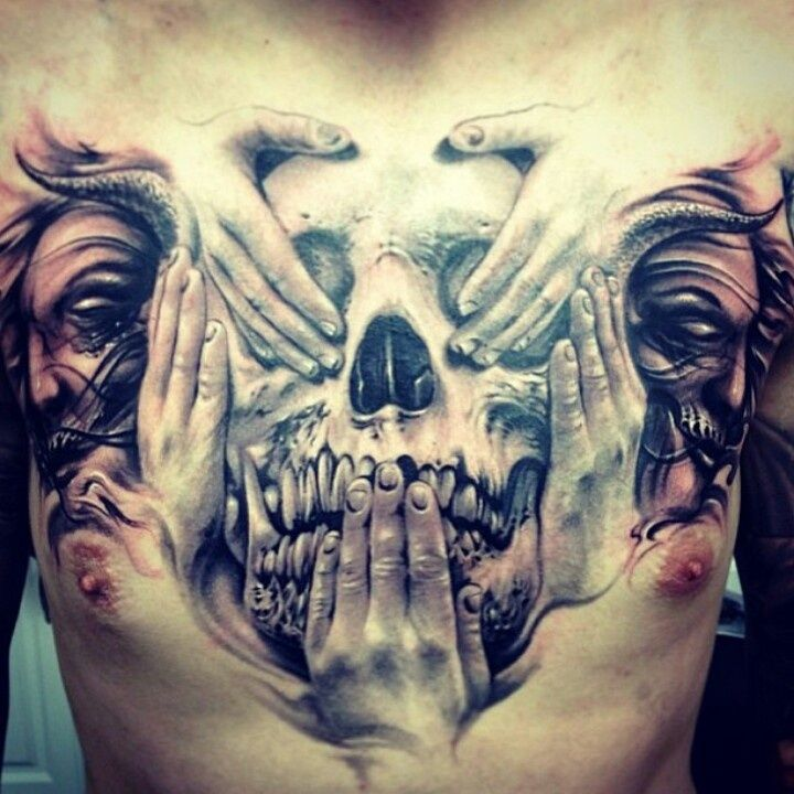 3D See No Evil Speak No Evil Hear No Evil Skull Tattoo On Full Chest