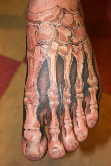 3D Skeleton Bone Tattoos On Foot