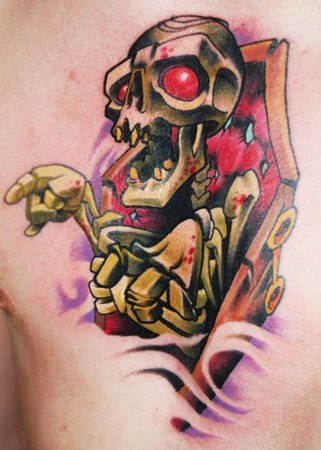 3D Skeleton Coffin Tattoo On Chest