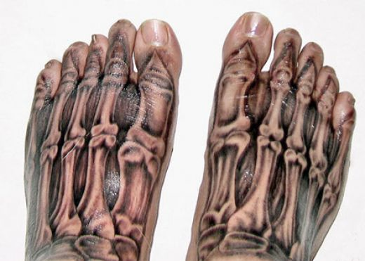 3D Skeleton Feet Tattoos