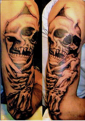 3D Skeleton Rip Skin Tattoo On Half Sleeve