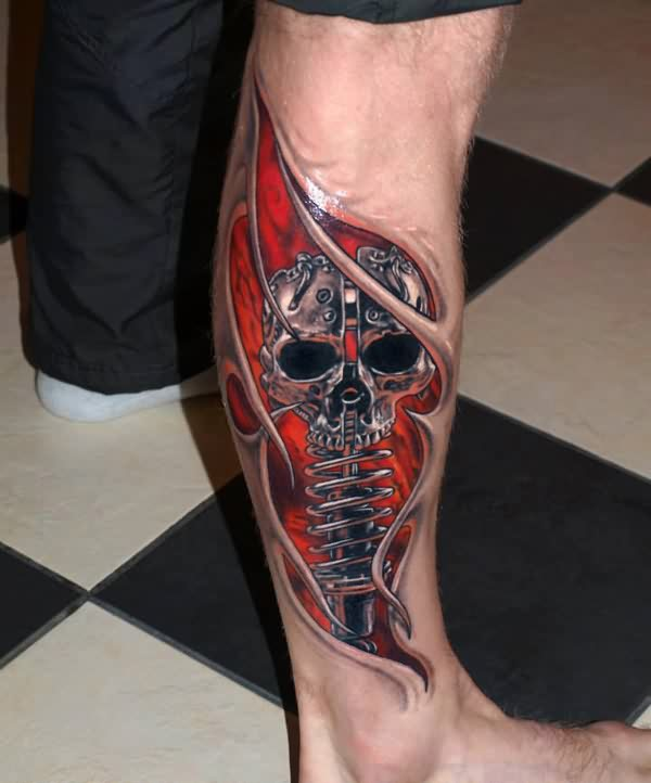 3D Skeleton Rip Skin Tattoo On Leg
