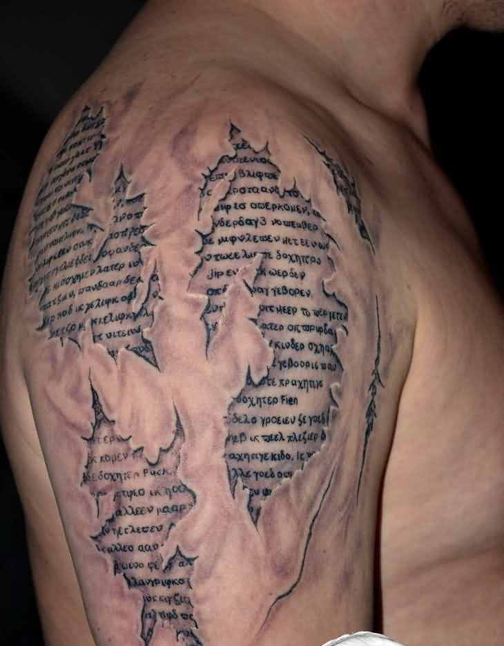 3D Skin Script Tattoo On Upper Arm