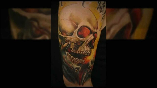 3D Skull With Red Eyes Tattoo On Sleeve