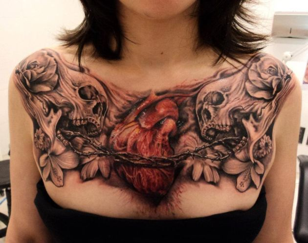 3D Skulls And Heart Tattoos On Full Chest