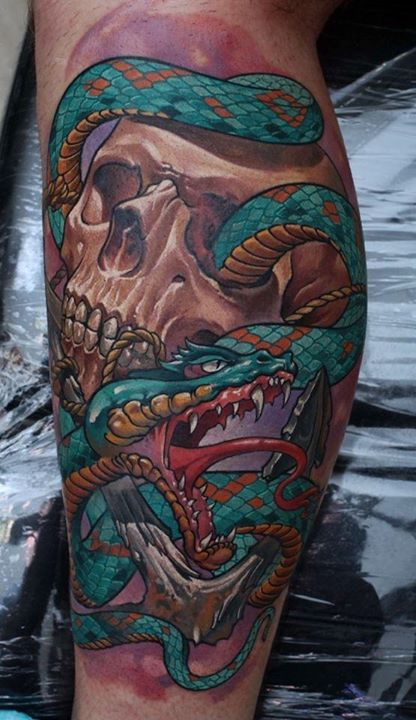 3D Snake And Skull Tattoos For All