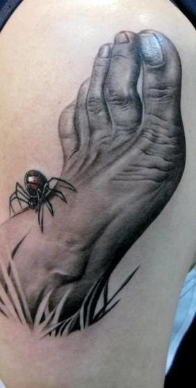 3D Spider On Grey Foot Tattoo