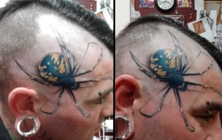 3D Spider Tattoo Hair Cut