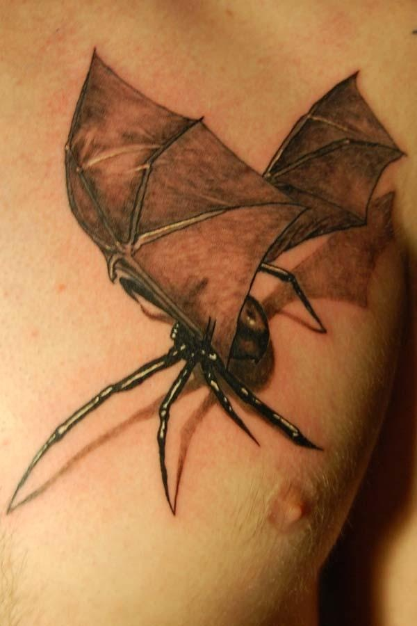 3D Spider With Grey Wings Tattoo On Chest