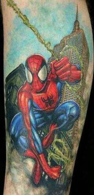 3D Spiderman In City Tattoo On Sleeve