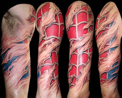 3D Spiderman Rip Skin Tattoo On Sleeve
