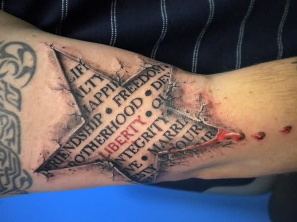 3D Star Script Bleeding Skin Tattoo On Arm