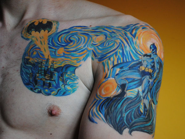 3D Starry Night Batman Tattoo For Guys