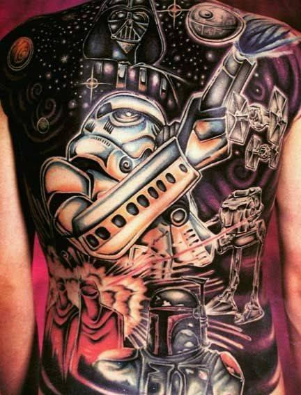 3D Stars Wars Tattoos On Entire Back