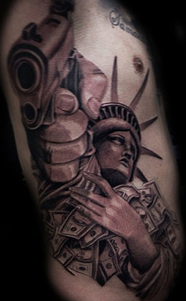 3D Statue Of Liberty With Gun Tattoo On Full Ribs