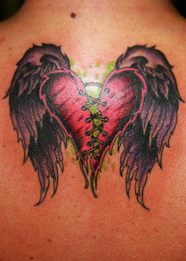 3D Stitched Heart With Wings Tattoo On Back