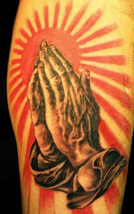 3D Sun Rays And Praying Hands Tattoos
