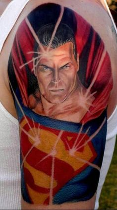 3D Superman Tattoo On Half Sleeve