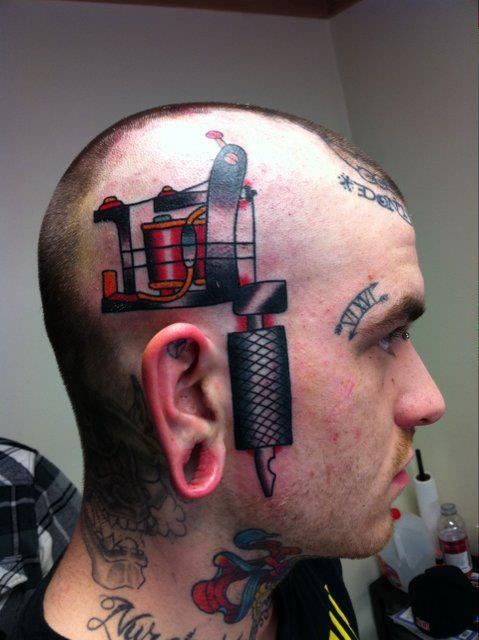 3D Tattoo Of Tattoo Machine On Head