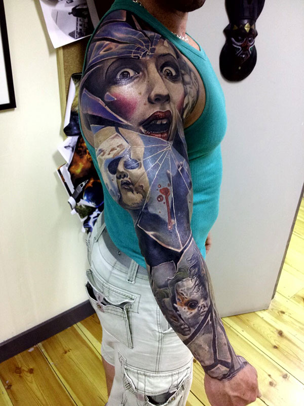 3D Tattoos On Right Whole Sleeve