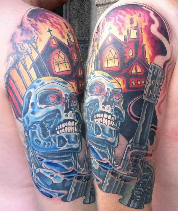 3D Terminator Blue Skull Tattoo On Half Sleeve