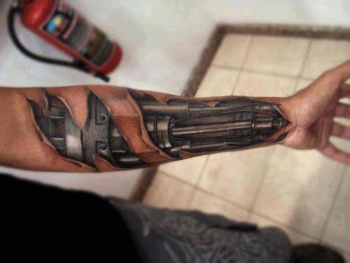 3D Terminator Robot Arm Tattoo On Forearm