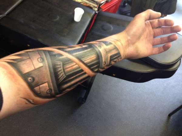 3D Terminator Tattoo On Left Forearm