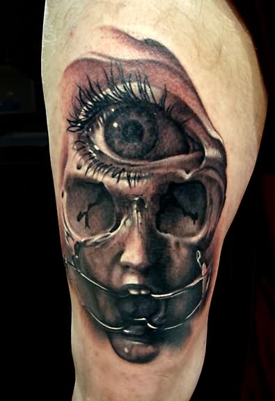 3D Third Eye Face Tattoo