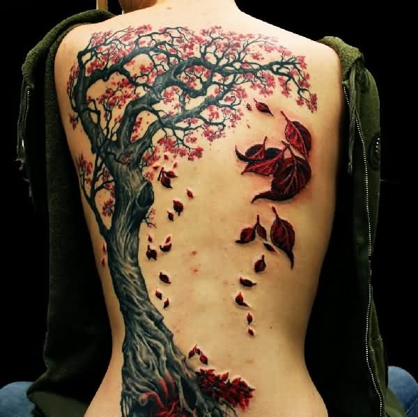 3D Tree With Falling Leafs Tattoo On Back