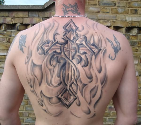 3D Tribal Flames And Cross Tattoos On The Back