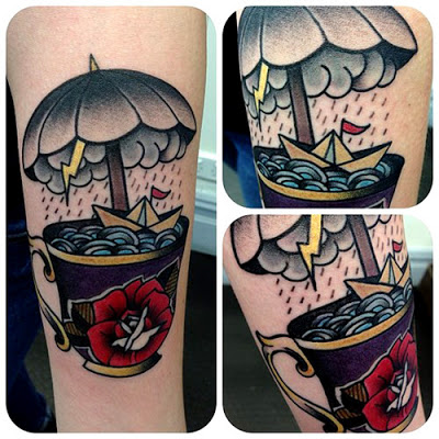 3D Umbrella Cup Tea Tattoos