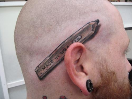 3D USA Pencil Tattoo For Men