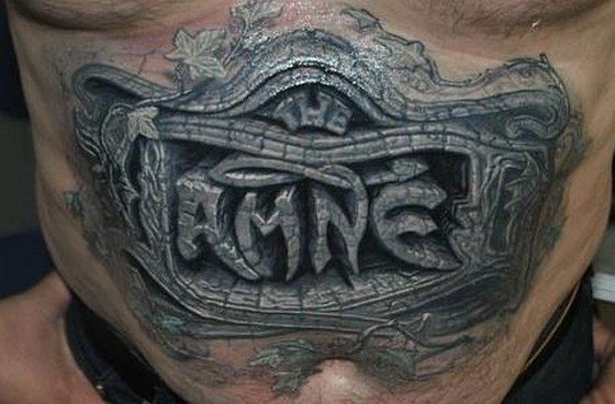 3D Wall Tattoo On Stomach
