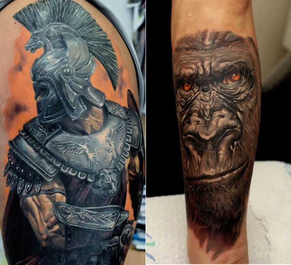 3D Warrior And Chimpanzee Sleeve Tattoos