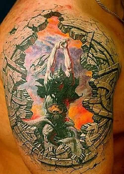 3D Warrior Attack Tattoo On Shoulder