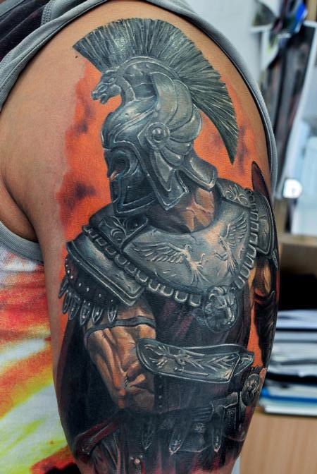 3D Warrior Color Tattoo On Sleeve