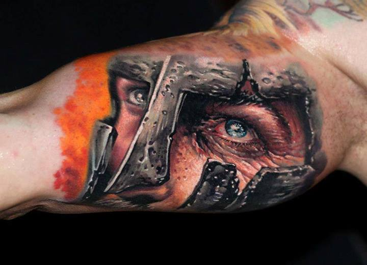 3D Warrior Face Tattoo On Full Muscles