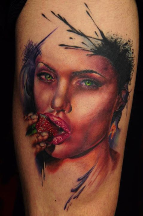 3D Watercolor Woman Eating Strawberry Portrait Tattoo