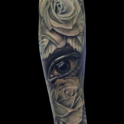 3D Weeping Eye And Rose Tattoos For Sleeve