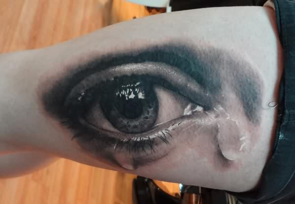 3D Weeping Eye Tattoo On Arm