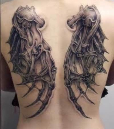 3D Wings Pair Tattoo On Backbody