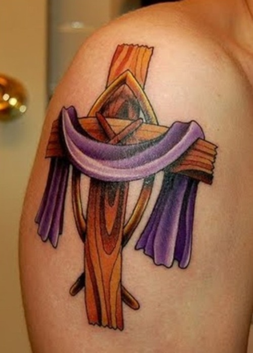 3D Wooden Cross Tattoo On Right Upper Arm
