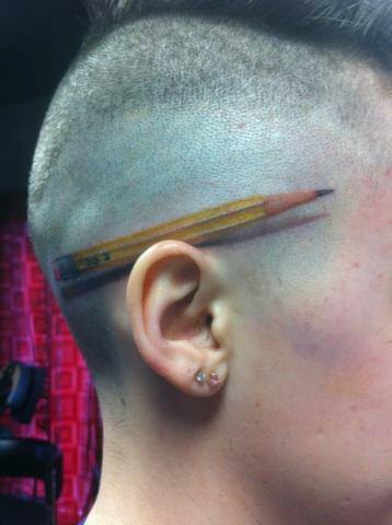 3D Yellow Pencil Tattoo On Head For Boys