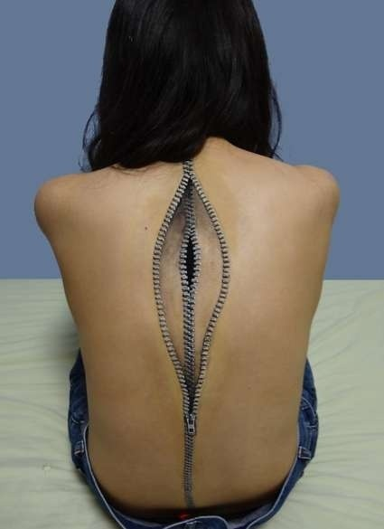 3D Zipper Tattoo On The Spine